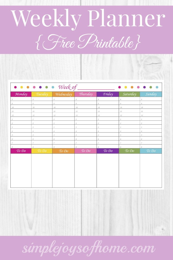 Weekly Planner {Free Printable} - Simple Joys Of Home